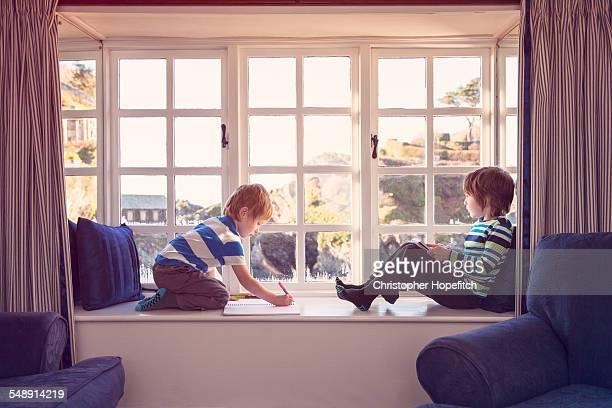 Young brothers on a window seat