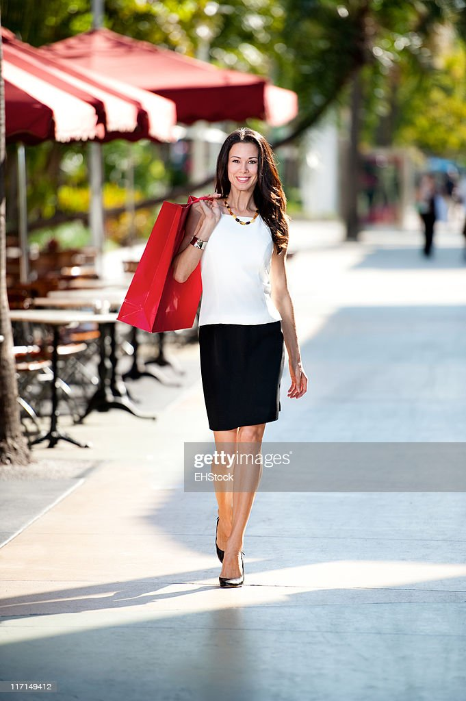 Young Brunette Woman Shopping with Bags : Stock Photo