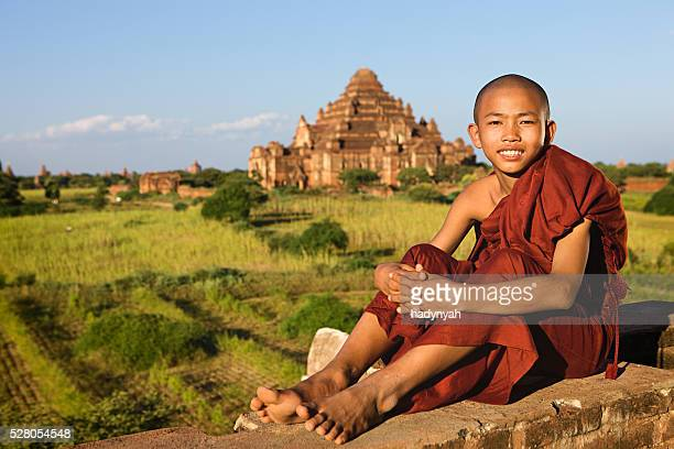Young Buddhist monk looking at the Bagan's panorama