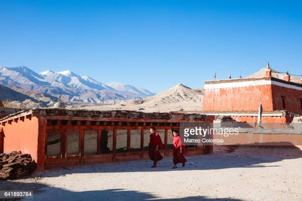 Young buddhist monks in a monastery, Upper Mustang, Nepal