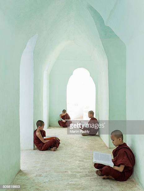 young Buddhist monks reading in temple corridor