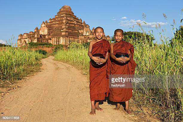 Young Buddhist monks walking along the road