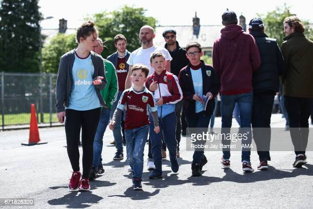 Young Burnley fans prior to the Premier League match between Burnley and Manchester United at Turf Moor on April 23 2017 in Burnley England