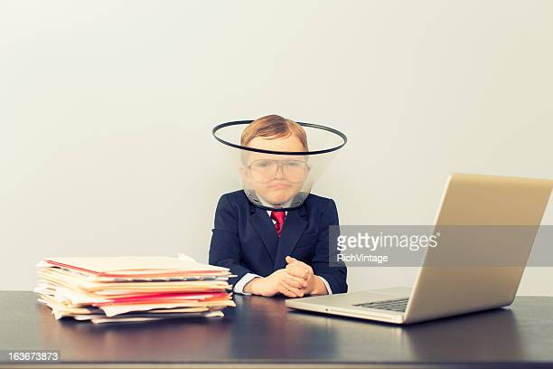 Young Business Boy at Laptop Wearing Dog Collar
