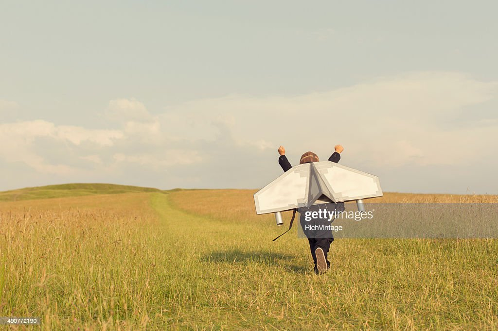Young Business Boy Wearing Jetpack in England : Stock Photo