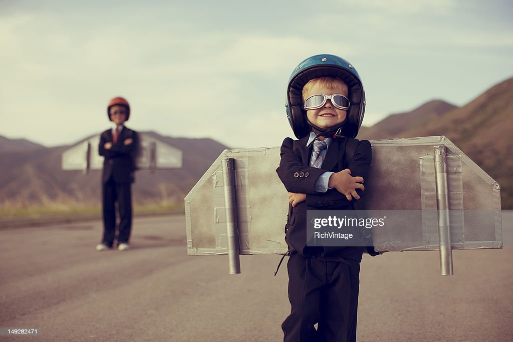 Young Business Boy Wearing Jetpack : Stock Photo
