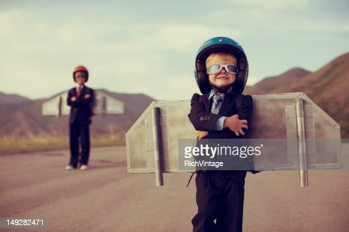 Young Business Boy Wearing Jetpack