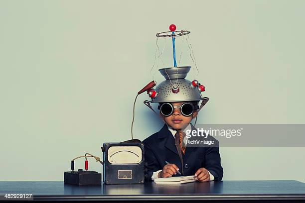 Young Business Boy with Mind Reading Helmet