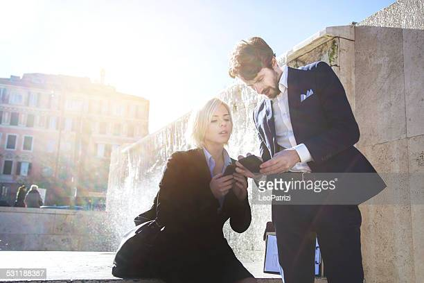 Young business couple in Rome