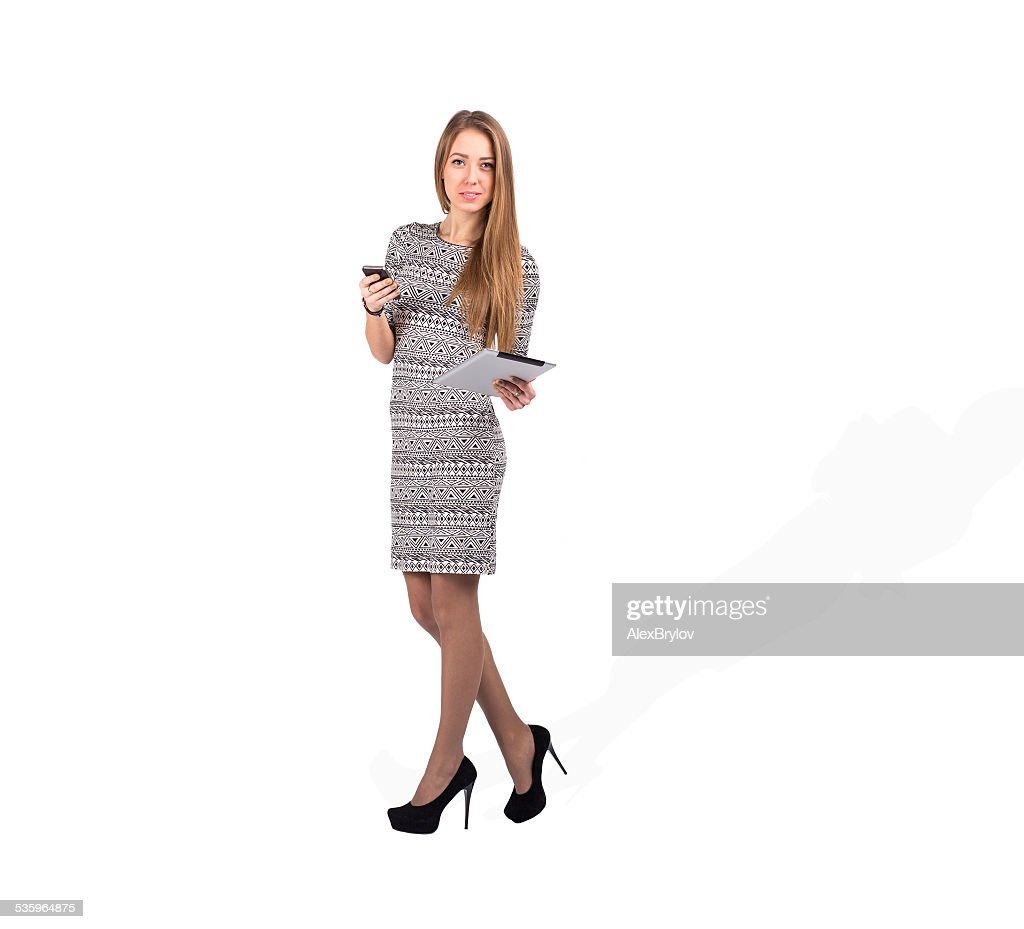 Young business lady with devises : Stock Photo
