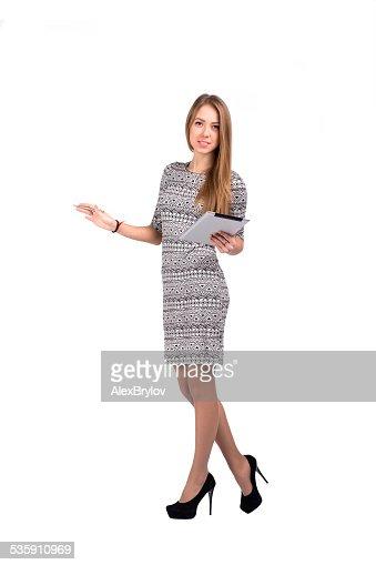 Negócios jovem fêmea com tablet PC e mão aberta : Foto de stock