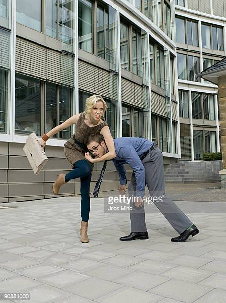 young businesscouple fighting outdoors