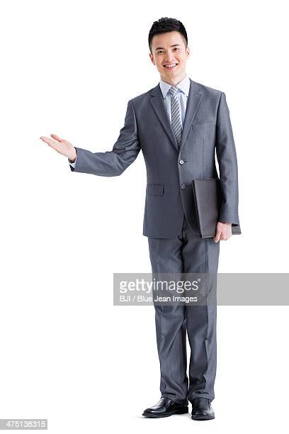Young businessman gesturing