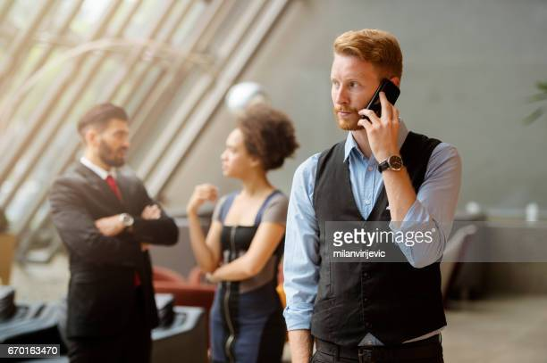 Young businessman having a phonecall