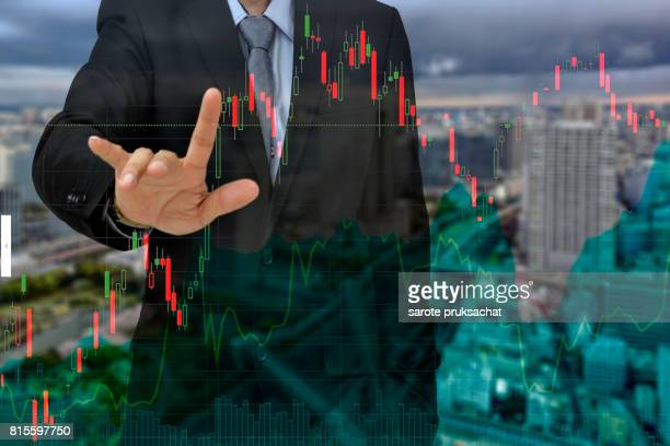 Young businessman his forecast Bad business, economy in sideways trend investment.