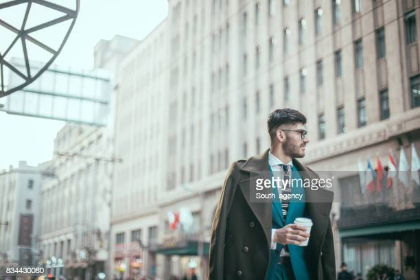 Young businessman on a coffee break