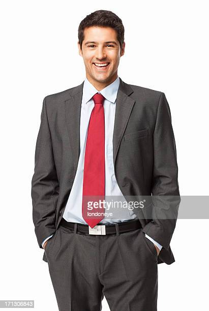 Young Businessman Standing With Hands In Pockets - Isolated