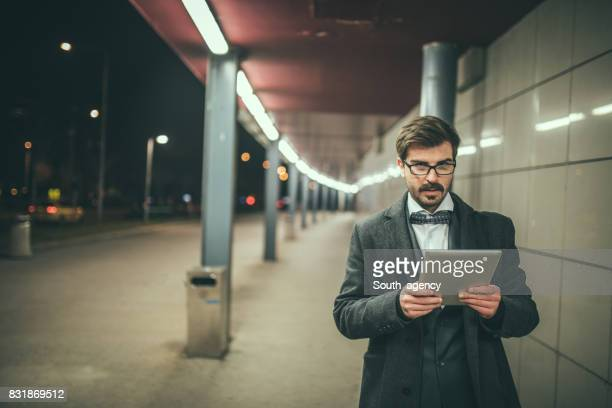 Young businessman using tablet