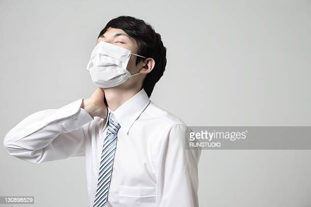 young businessman with a mask,bad condition