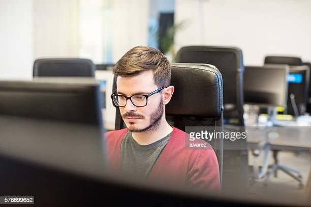 Young businessman working at startup