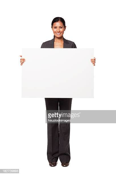 Young Businesswoman Holding Blank Sign. Isolated.