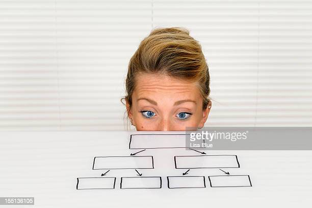 Young Businesswoman Looking at Organization Chart
