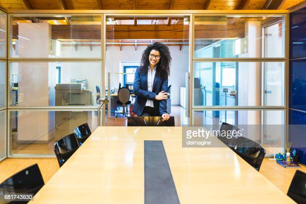 Young businesswoman ready for conference table
