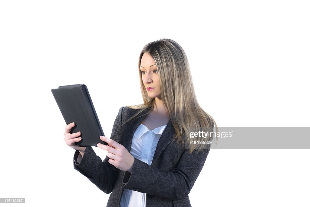 Joven empresaria usando tableta digital : Foto de stock