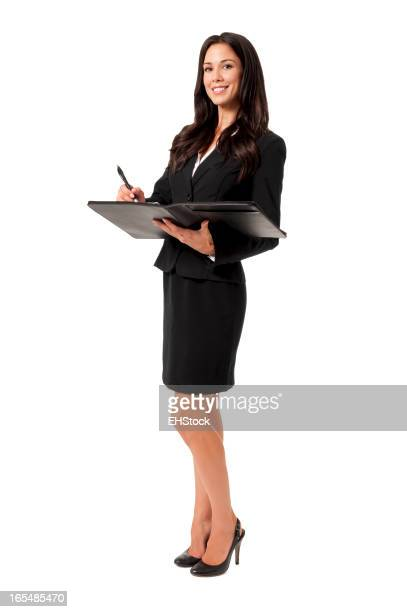 Young Businesswoman with Folio Isolated on White Background
