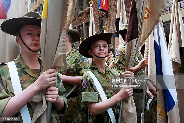 Young cadets prepare to take part in the Anzac Day Parade on April 25 2015 in Sydney Australia Australians are celebrating the centenary of the...