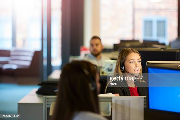 young call centre operative