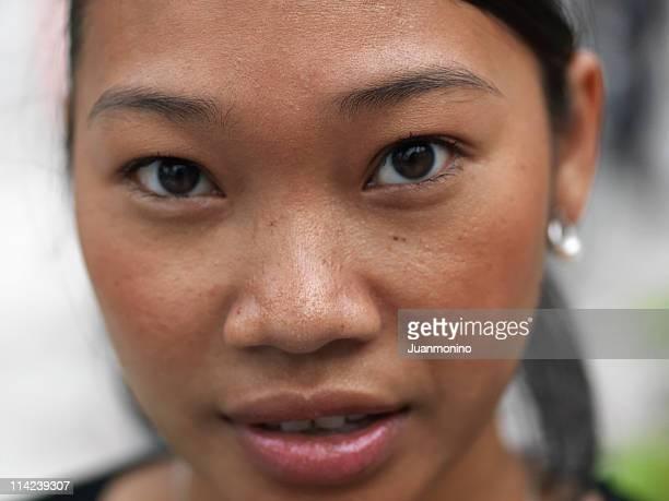 Young cambodian girl close up