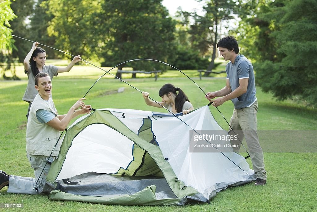 Young campers setting up tent : Stock Photo