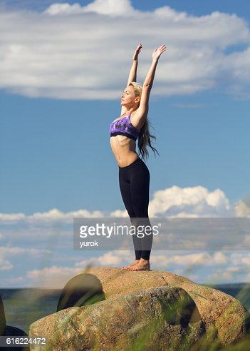 young caucasian fitness woman practicing yoga : Stock Photo