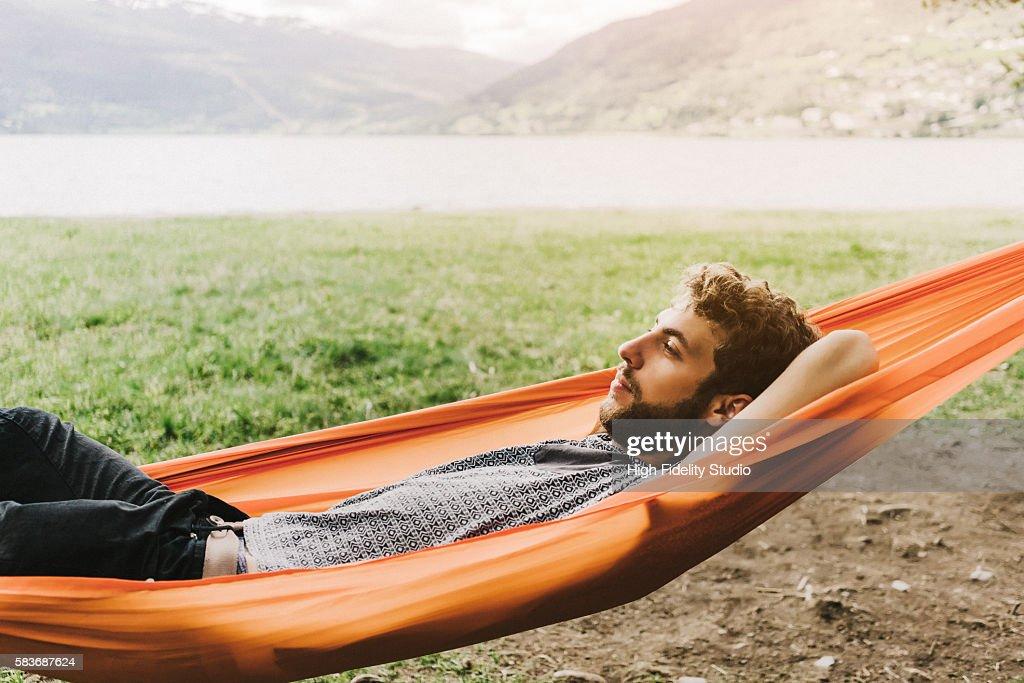 Young Caucasian man in hummock