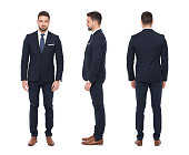 Young stylish caucasian businessman, front, side, rear view, isolated on white background