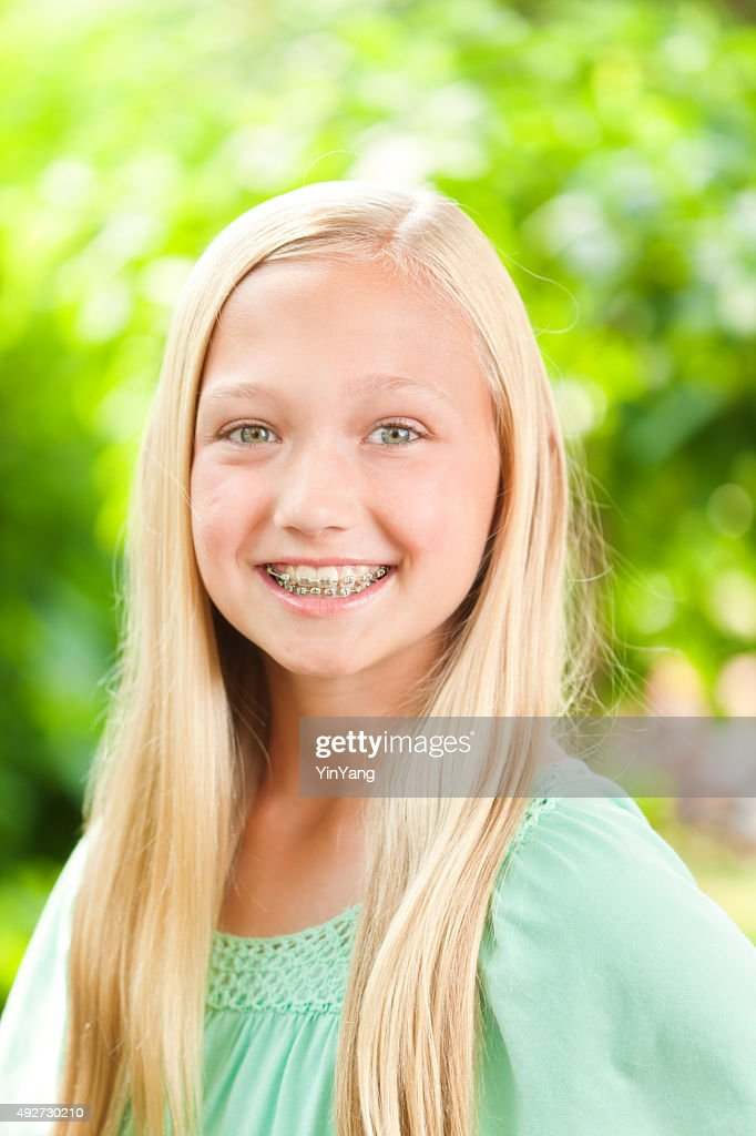 young caucasian teen girl portrait with dental teeth braces stock photo getty images. Black Bedroom Furniture Sets. Home Design Ideas