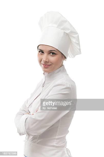 Jeune chef en regardant la caméra