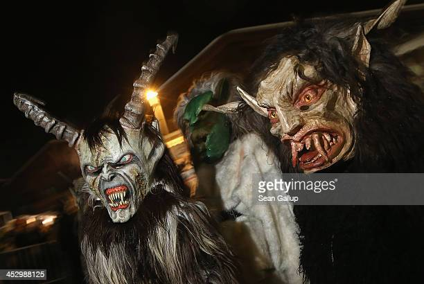 Young children dressed as the Krampus creature walk the streets during Krampus night on November 30 2013 in Neustift im Stubaital Austria Sixteen...