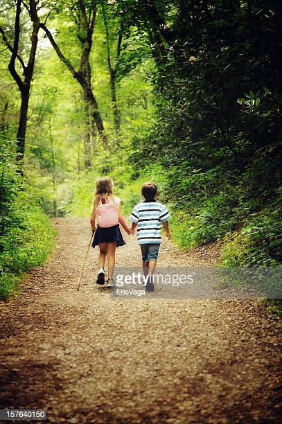 Young children hiking