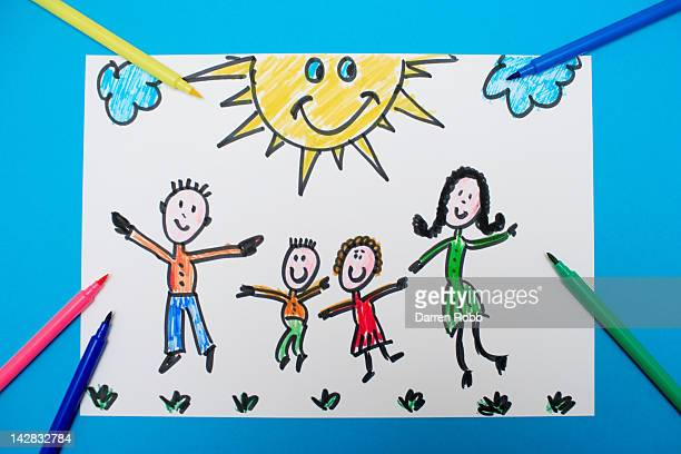 A young child's drawing of a happy family jumping
