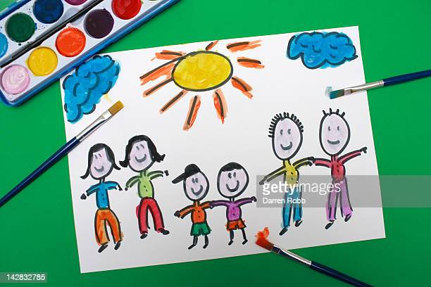 A young child's painting of an extended family