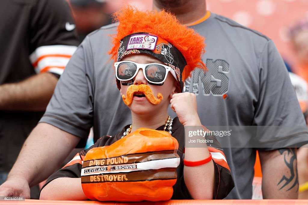 A young Cleveland Browns fan looks on before the game against the Baltimore Ravens at Cleveland Browns Stadium on September 18, 2016 in Cleveland, Ohio.