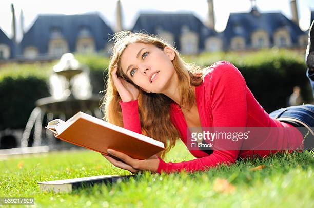 Young College Student Woman Studying