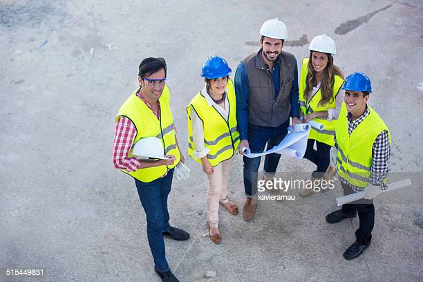 Young construction people