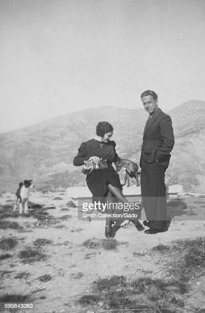 Young couple a man and a woman with two dogs sitting on a bench at the top of a mountain one dog sitting on the bench beside the woman and staring at...