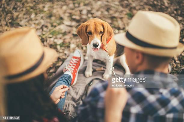 Casal Jovem e um cão