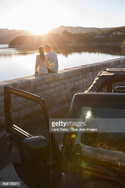 Young couple and jeep