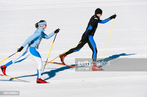 Young couple at cross country skiing