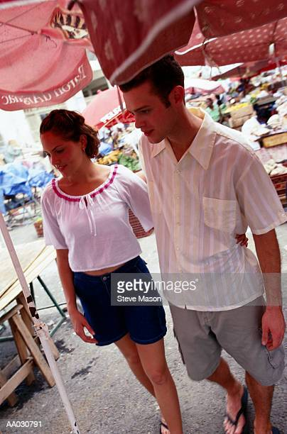 Young Couple At Outdoor Market, Caribbean